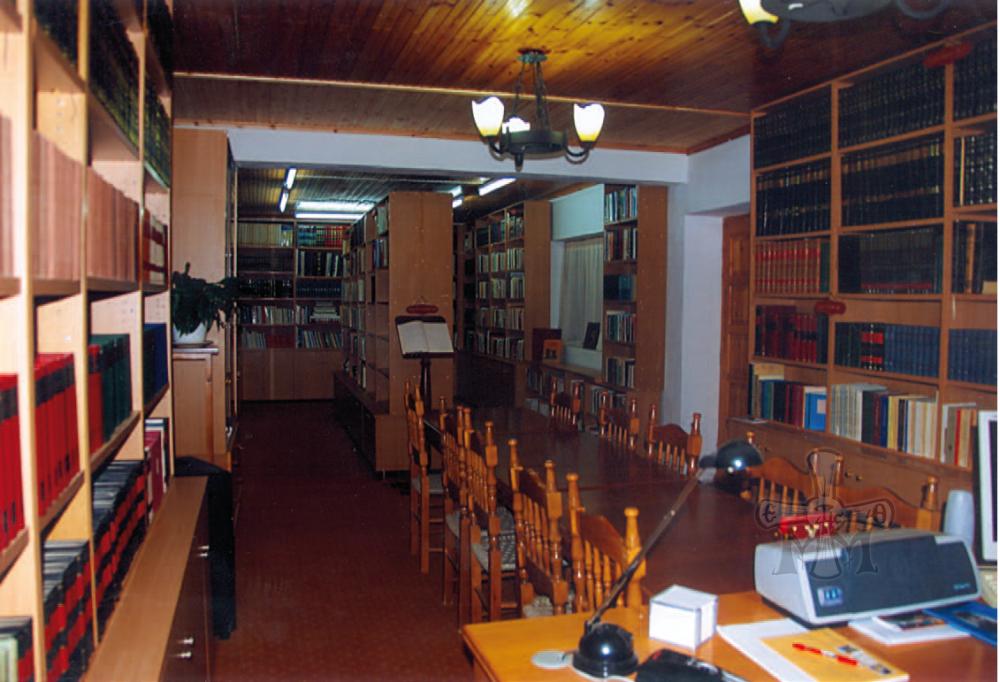 Μερική άποψη της Βιβλιοθήκης και του αναγνωστηρίου της Ιεράς Μονής.